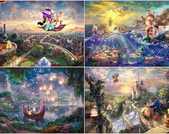 custom 4  prints 12x18 Rapunzel Tangled Ariel Little Mermaid Belle Jasmine Walt Disney Giclee