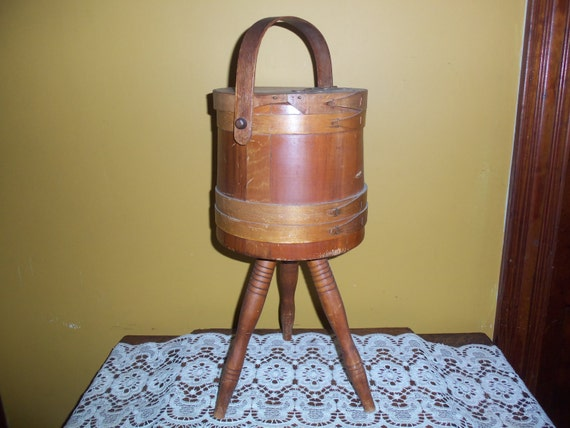 Knitting Basket With Handles : Vintage banded knitting sewing basket w handle by