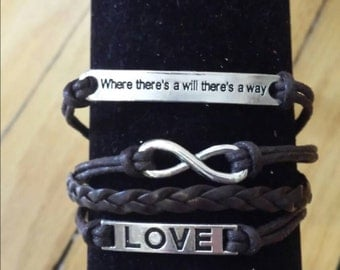 Infinity Love Brown Adjustable Leather Bracelet
