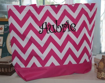 Pink CHEVRON Tote Bag Beach Bag With Monogram (Embroidery)-Bridesmaid Gift, Teachers, Mom, Grandma