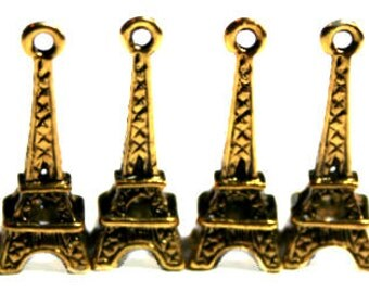 12 Eiffel Tower Charms Antique Gold finish, jewellery making, UK seller