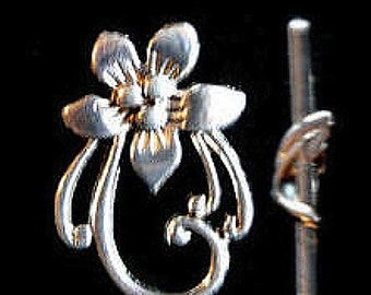 6 Ornate Flower Toggle Clasps, Antique Silver finish, toggles, jewellery clasps, jewellery supplies