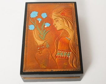 Vintage Wooden Box embellished with hammered brass plate with enamel. (CI365)