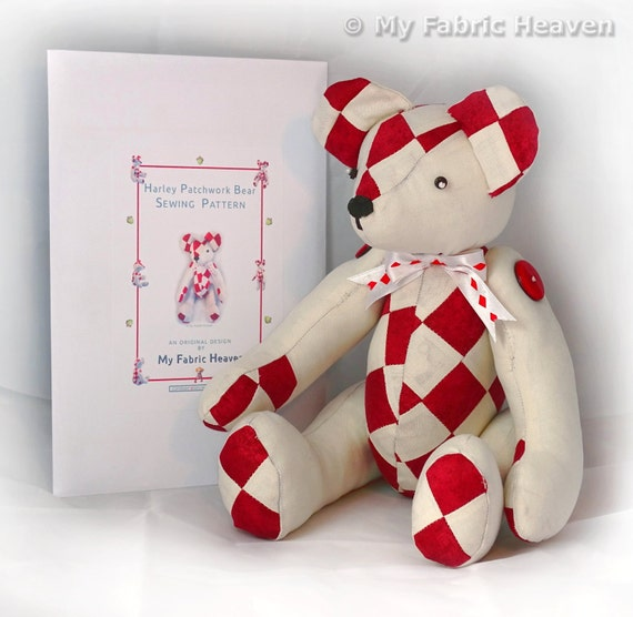 """Harley 14"""" Patchwork Teddy Bear Sewing PATTERN & Full Easy To Follow ..."""