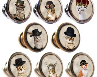 Cats in Hats Decorated Zinc Alloy 30mm Drawer Cupboard Cabinet Knobs