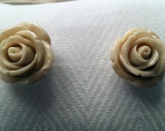 Rose Button Earrings