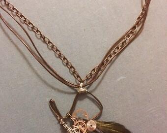 Steampunk Top Hat Pendant Necklace