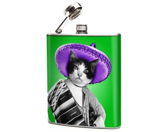 MEXICAN CAT 6oz Stainless Steel Graphic Hip Flask kitty