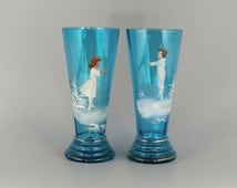 Victorian Czech Bohemian Mary & Gregory Blue Glasses with Boy and Girl