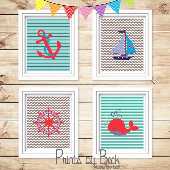children 39 s printable nautical wall art nursery wall art. Black Bedroom Furniture Sets. Home Design Ideas