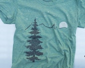 womens Mountain outdoors t shirt screen print on american apparel tri blend.color tri lem size s,m,l, xl. free shipping in US