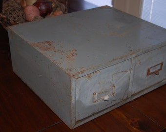 Gray Industrial Vintage Two Drawer Metal Filing Cabinet Card Catalog Rustic Office Table Top File Drawers 2 Barn Find Antique Home Decor