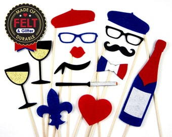 FELT French Photo Booth Prop - Paris Disguise Set - Blue, Red, and White