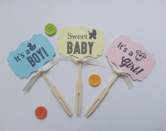 It's A Boy Cupcake Toppers - Set of 12