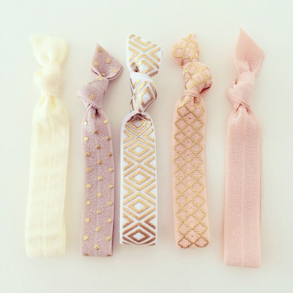 Nude Hair Tie Set | Ivory, Peach, Blush + Gold Creaseless Elastic Hair Ties, Boho Aztec Tribal Hair Tie Bracelets, Everyday Neutral Hair Tie