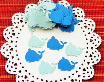 FREE SHIPPING - 120 Whale Confetti, Die Cut Confetti, Party Confetti, Baby Shower Confetti, Whale Cutouts