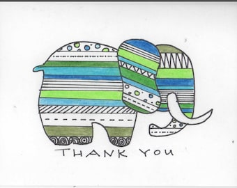 Tribal print elephant handmade thank you card