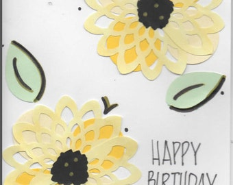 Sunflower handmade birthday card