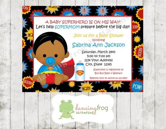 African American Superhero Baby Shower Invitation You Pick, Baby Shower