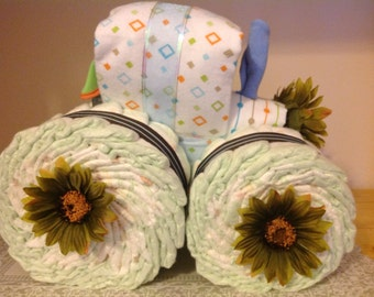Custom Tractor Diaper cake-either gender, choice color/theme
