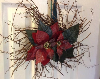 Christmas Poinsettia Wreath (Twig or Wood wreath)