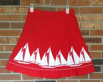 Vintage 1980's Liz Claiborne Red Skirt Featuring White Sail Boats, side zipper