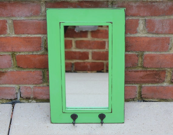 green wall mirror with hooks painted mirror by bluewolfhome. Black Bedroom Furniture Sets. Home Design Ideas