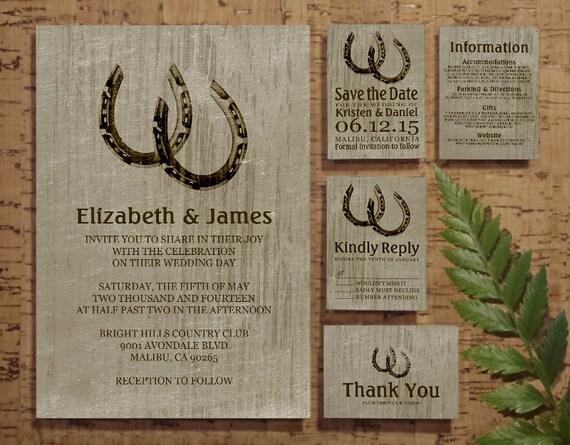 Vintage Horseshoes Wedding Invitation Set/Suite, Invites, Save the date, RSVP, Thank You Cards, Response Card, Printable/Digital/PDF/Printed