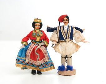 Antique folk dolls from Greece, antique dolls, greek folk dolls, antique souvenir