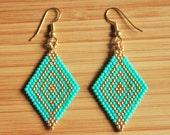 Miyuki turquoise and gilded in Gold filled 14 k diamond earrings