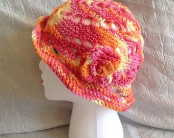 COLORFUL CROCHET SUNBONNET, pink orange yellow summer hat, summer cap, spring hat