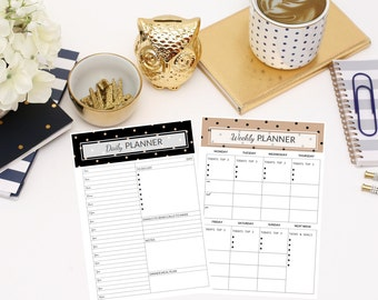 Daily + Weekly Planner Printable - Schedule - Black & Brown Polka Dot Design