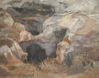 Antique impressionist landscape oil painting