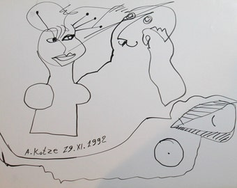1992 Surrealist abstract figures ink drawing signed