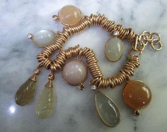 TOM K  Moonstone Sapphire necklace gold bracelet Lemon Quartz Rings Charms Links