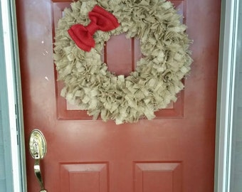 Extra Large, Burlap, Everyday, Rag Wreath