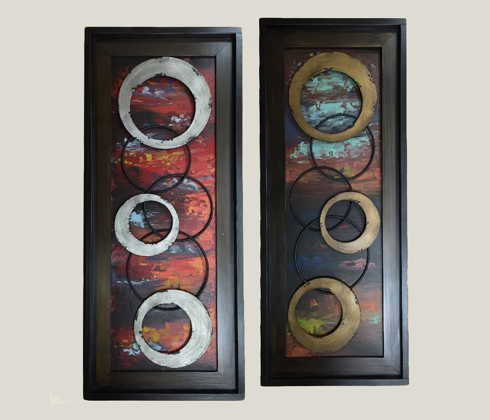 Wall Decoration Rings : Metal wall art wood espresso framed rings silver