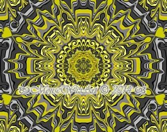Yellow Grey Medallion Wall Decor - download prints turmeric mandala collection