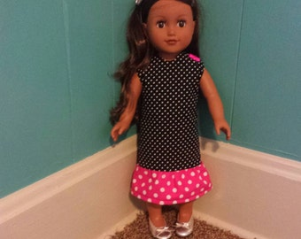 "Black and Pink Polka Dot 18"" Doll Dress, Fits American Girl Doll"