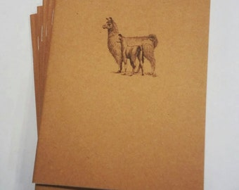 Llama Mini Notebook - diary, journal, party favors, multipack, llama family, woodland, baby llama, custom printing included
