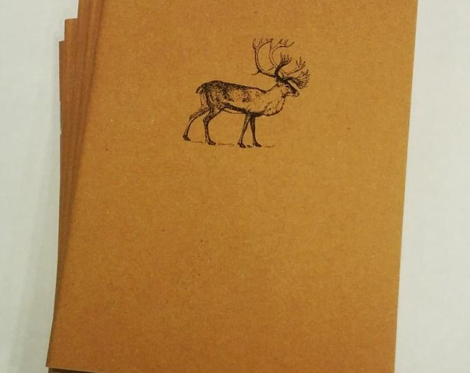 Caribou Mini Notebook - diary, journal, party favors, multipack, elk, deer, woodland, hunting, animal, custom printing included