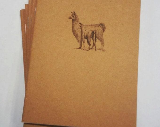 Llama Mini Notebook - diary, journal, party favors, multipack, llama family, woodland, baby llama, custom printing included