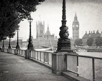 London Photography, BIG BEN, Black and White, Fine Art Photography, Travel Photo, Europe, British Decor, Wall Art, Home Decor, Matted Print