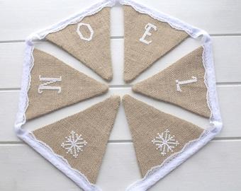 Embroidered Noel Burlap Bunting - Christmas Bunting - Christmas Burlap Bunting - Noel Bunting