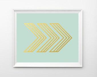 Arrow Art, Chevron Wall Art, Art Print, Mint Arrow, Art, Gold Wall Art, Poster, Gold Art, Printable, Gold Foil Print, Arrow Decor, Prints