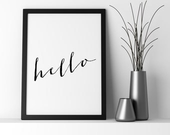 Hello Print, Printable Quotes, Hello, Wall Art, Quote Print, Quotes, Hello Art, Printable, Inspirational Art, Wall Art Prints, Printable Art
