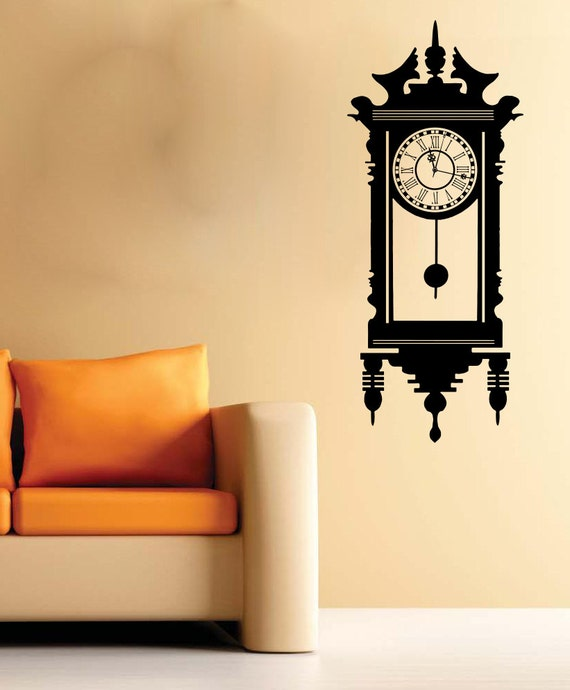 Large wall clock antique wall art decal mural sticker bedroom for Clock wall mural