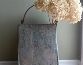Large Galvanized Metal Bin with Handles, Vintage Industrial