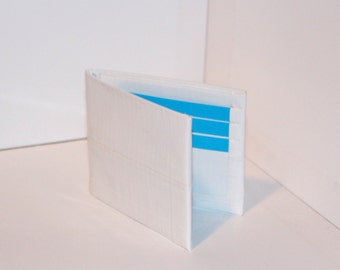 White and Electric Blue Duct Tape Wallet