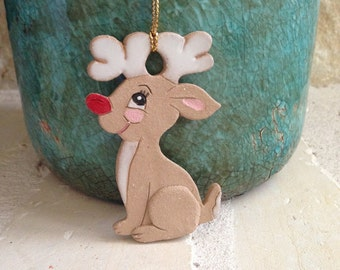 Rudolph Reindeer Ornament Rudolph Christmas Ornament Handcrafted Ornament